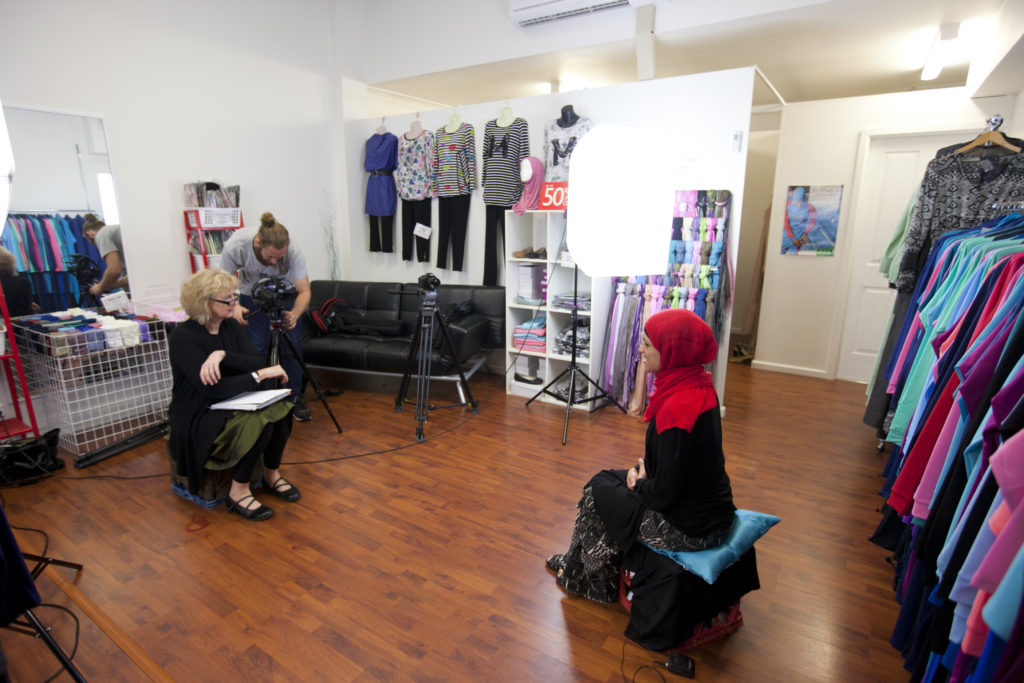 Curator Glynis Jones interviews Burqini designer, Aheda Zanetti at 2Modest in Chester Hill