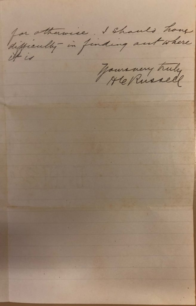 Detail of Letter from H C Russell second page