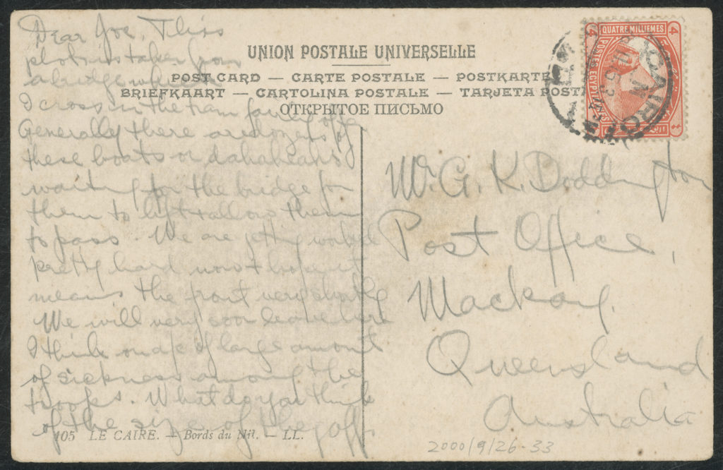 Reverse side of postcard with handwritten message (transcribed in main text) and addressed to Mackay, Queensland. The postcard is stamped and postmarked 'CAIRO'.