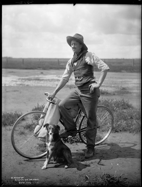 Glass plate negative entitled 'A Modern Australian Shearer'