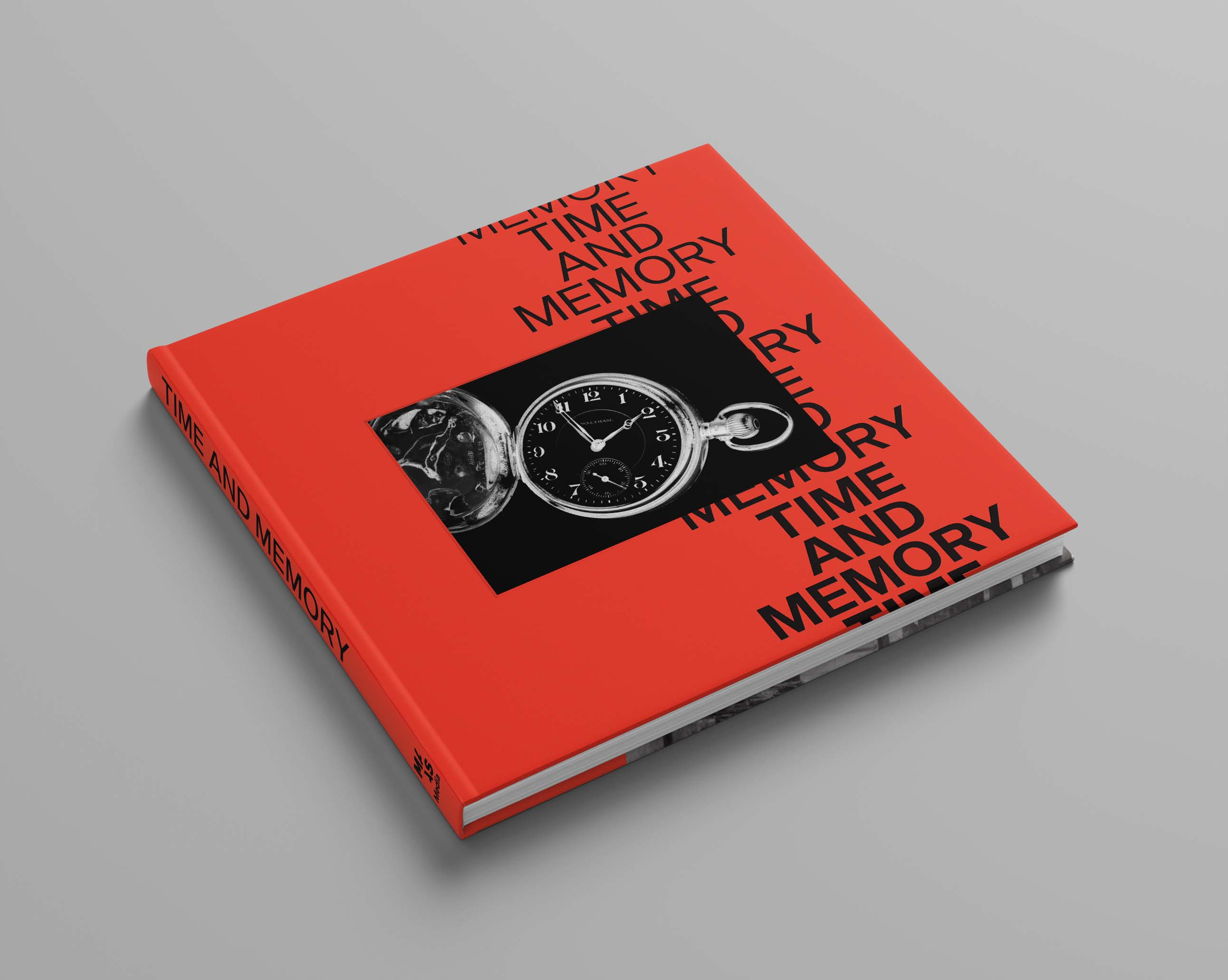 A square red book with the black words Time and Memory written on the front and a pocket watch image in the centre.