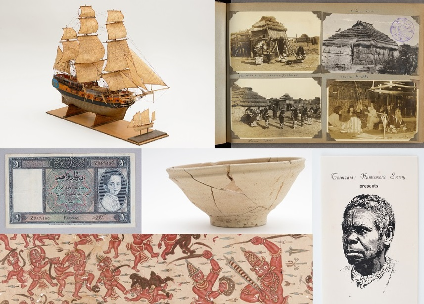 Collection pieces; ship model, photo album, banknote, ceramic bowl, leaflet for commemorative medallions, textile length