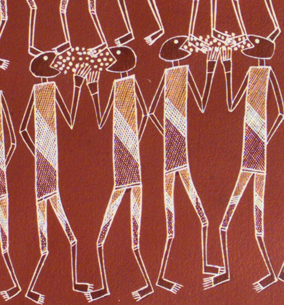 Aboriginal bark painting of figures coughing and spreading disease.
