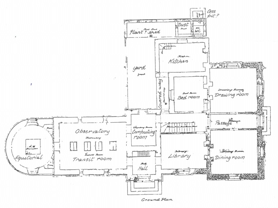 Ground floor plan of Sydney Observatory by Alexander Dawson, Colonial Architect. This probably dates from March 1857. The time ball tower sits directly above the