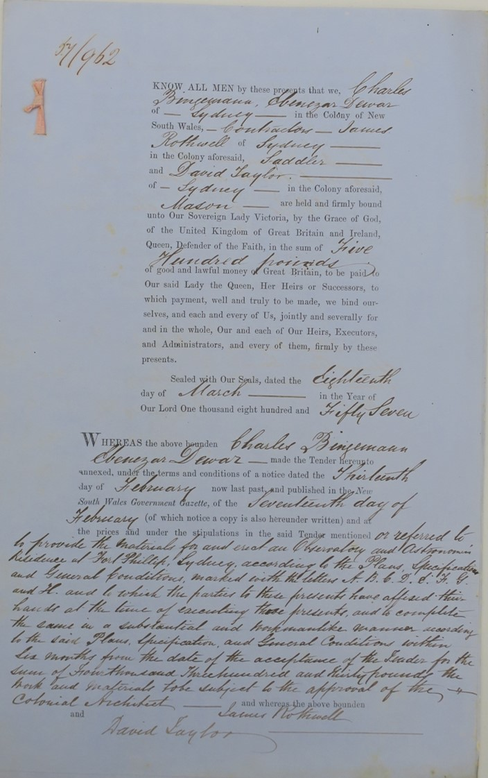 The contract to build Sydney Observatory, page 1. Document courtesy of NSW State Archives