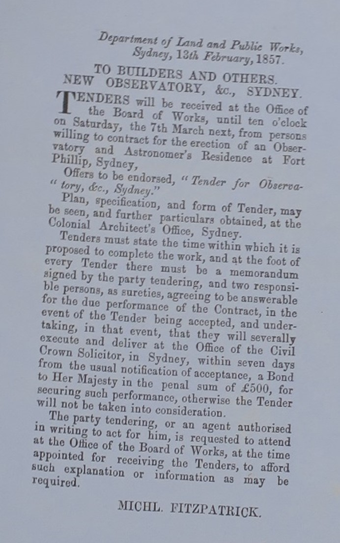 Tenders to construct Sydney Observatory were invited in the Government Gazette of Friday February 13, 1857. Document courtesy of NSW State Archives