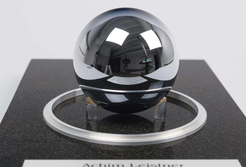 Photograph of the perfect silicon sphere
