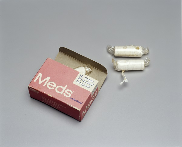 Photograph of tampons and box 'Meds by Modessa'