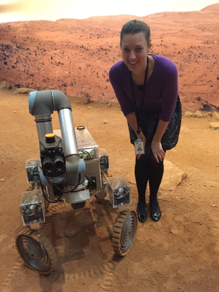 Sarah Reeeves with rover in Mars Yard