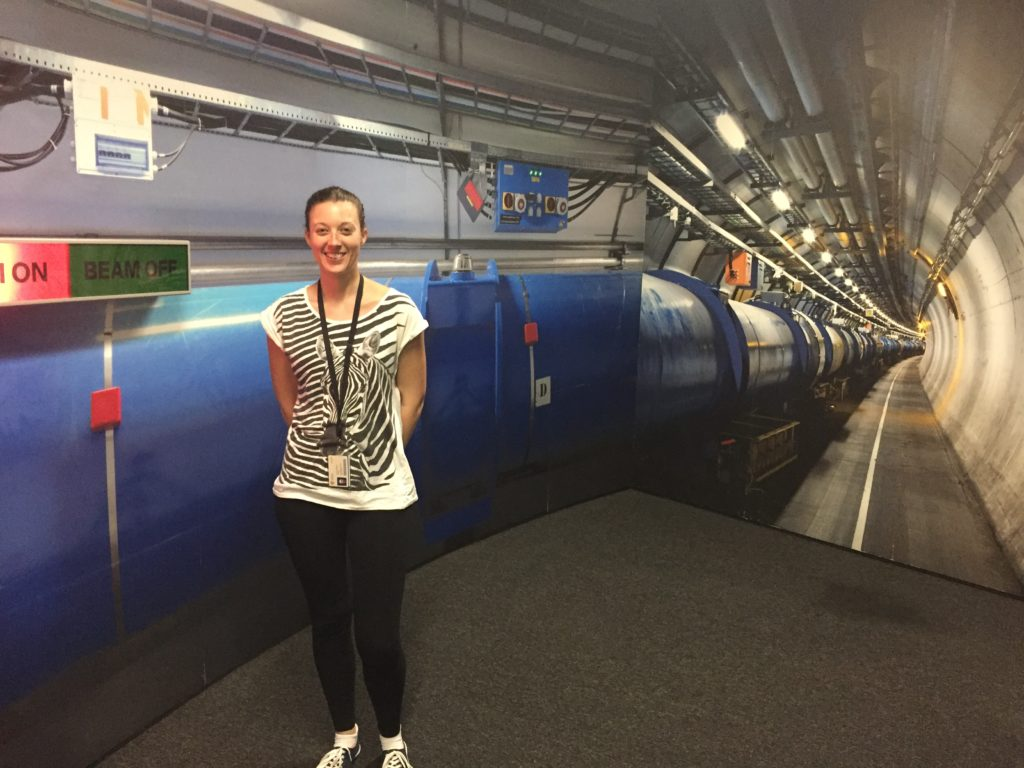 Sarah Reeves at the CERN Large Hadron Collider.