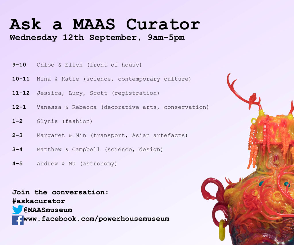 Graphic of MAAS Ask a Curator Day schedule