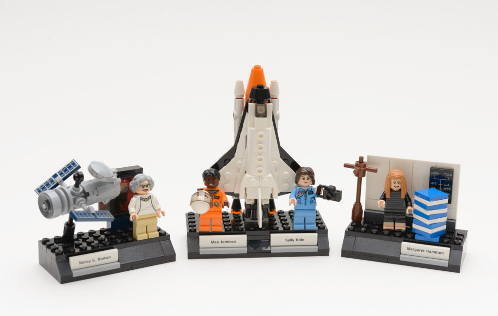 Four Lego figurines of real women who contributed to NASA