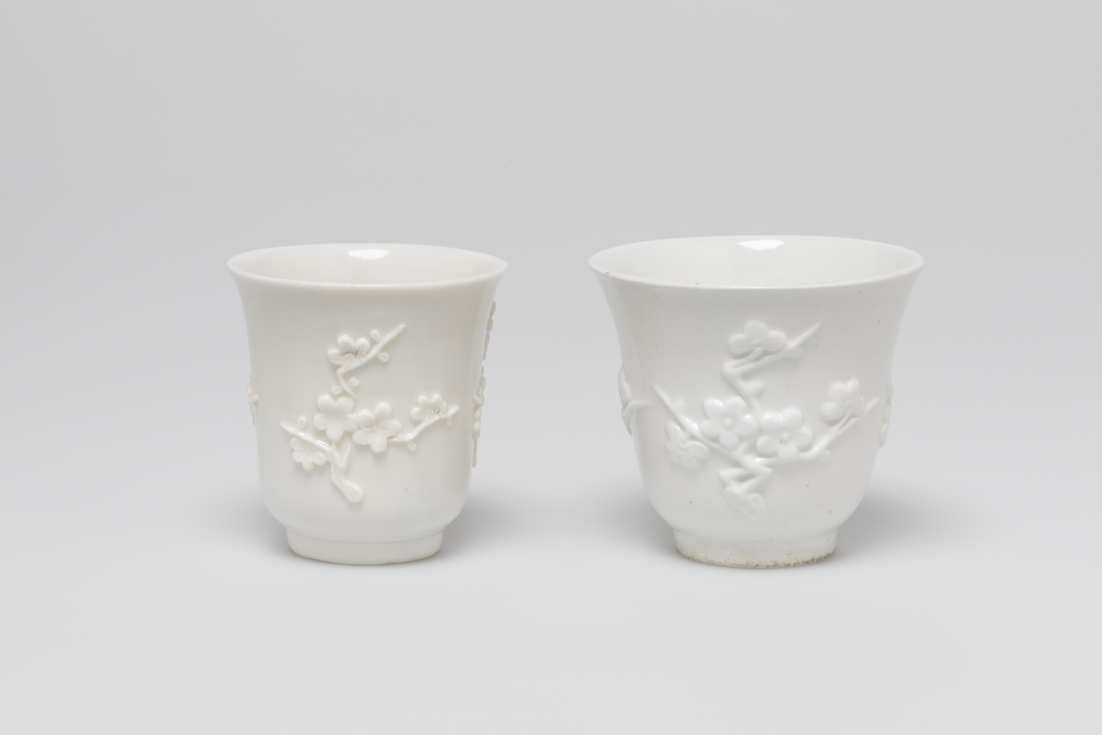 An image of almost identical two white tea cups decorated with blossom blowers in relief.
