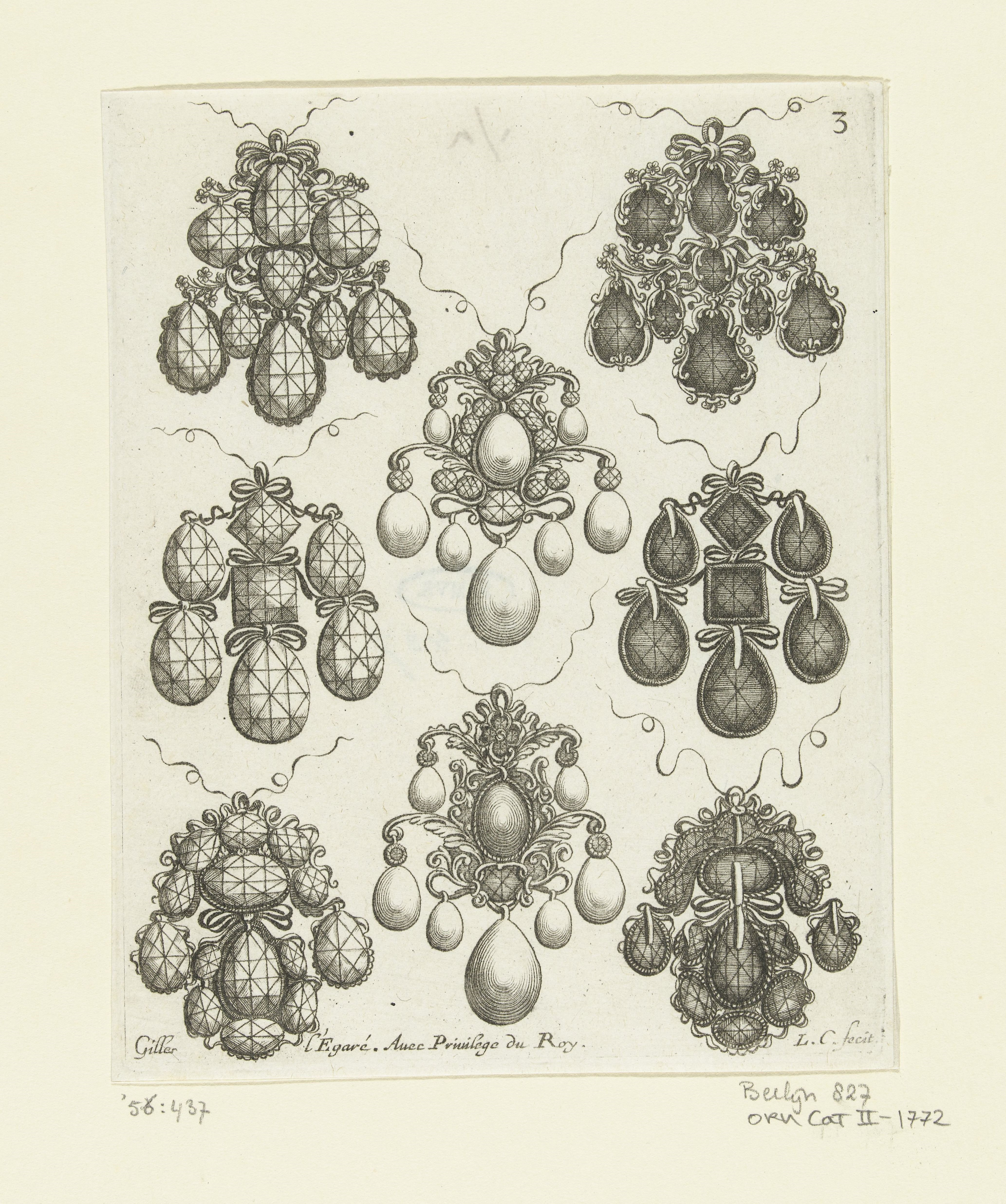 A jeweller's sketch in brown ink on white paper showing designs for eight ornate pendant earrings.