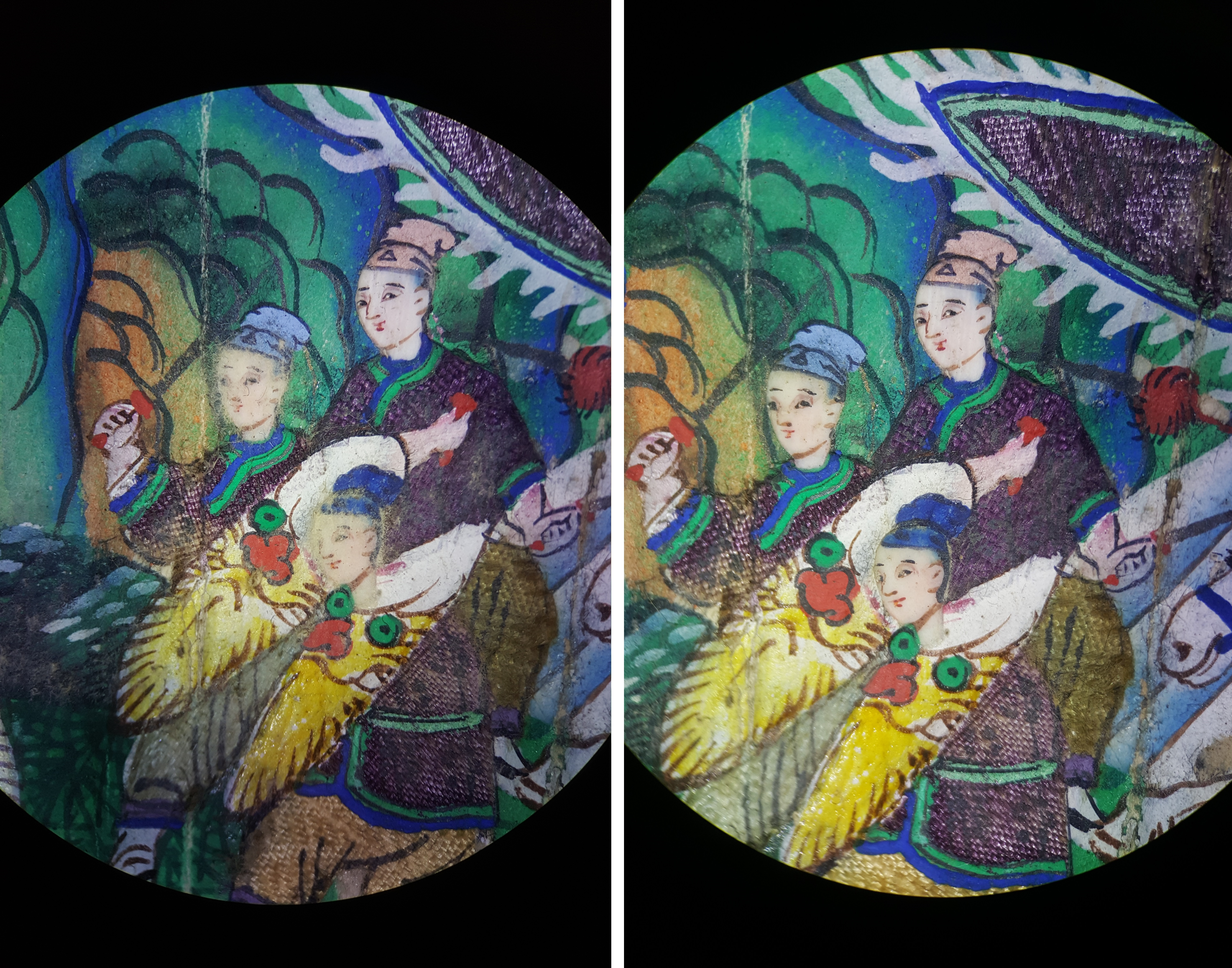 Two photos showing details of the same area of the fan where there are three figures in purple robes on a busy background. In the left image, there is dust and debris on the surface, particularly obscuring the faces of the figures. On the right, this has been cleaned off the surface.