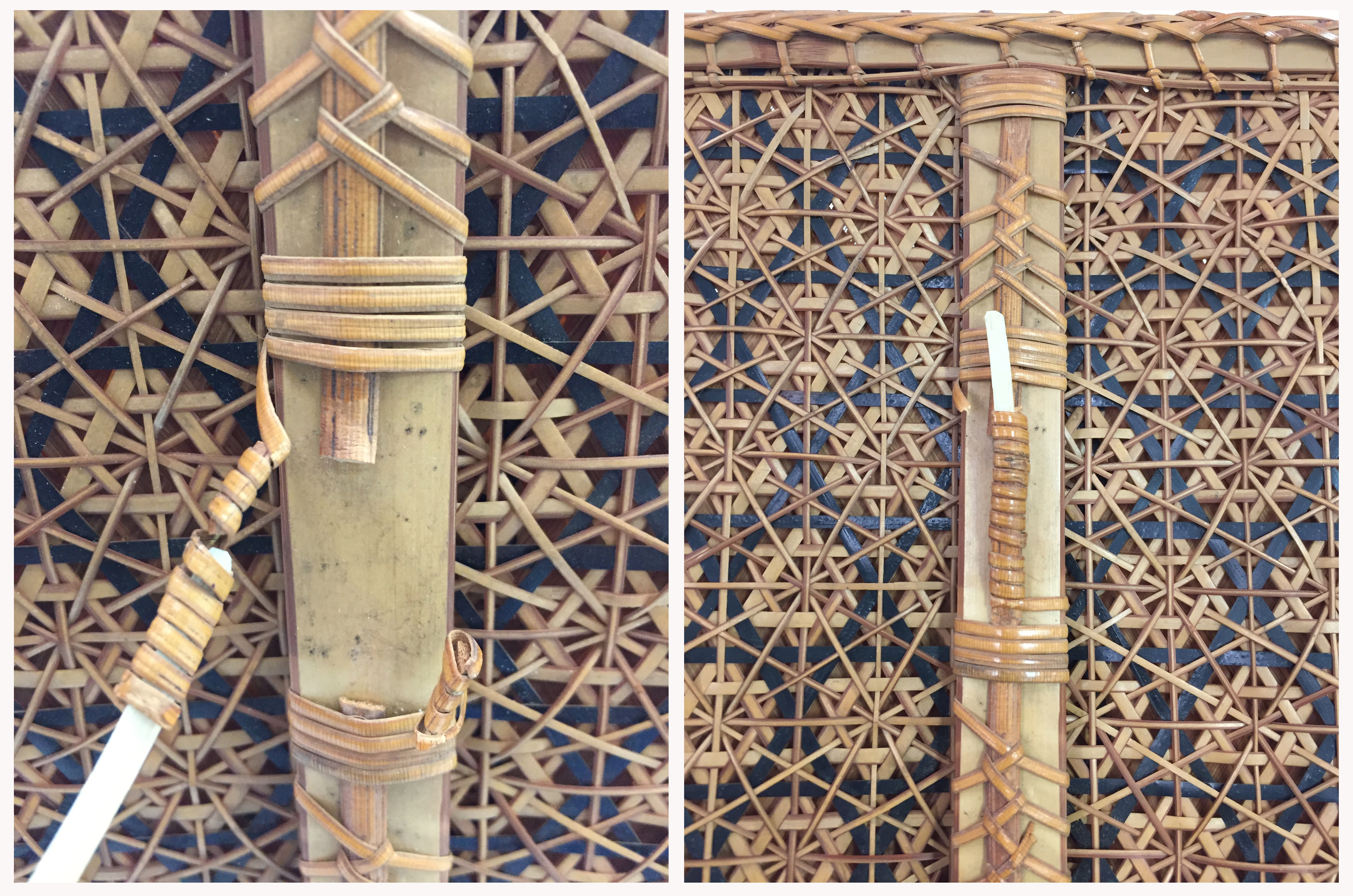 Left: Close-up, broken coil of bamboo on woven hexagonal pattern. Right: repaired and splinted coil of bamboo on woven hexagonal pattern.