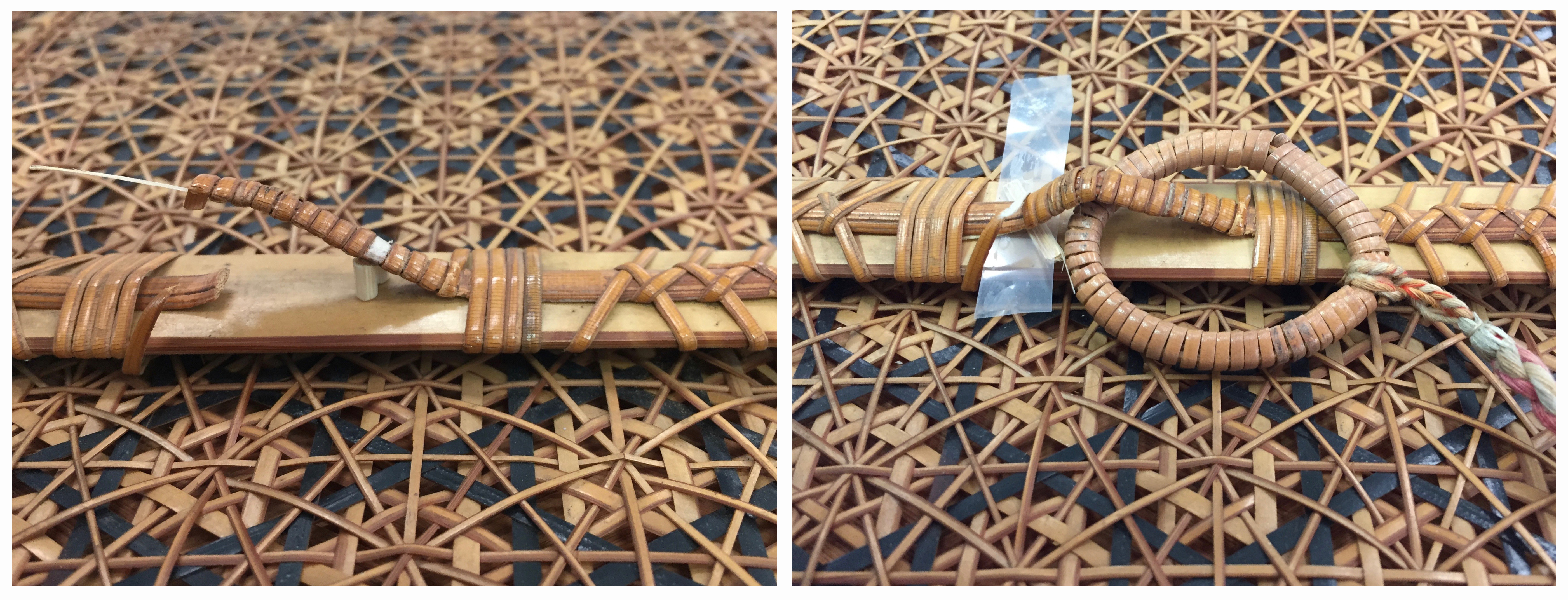 Left: Broken loop realigned using a splint, on background of woven hexagonal pattern. Right: Bamboo ring on end of silk tie attached through bamboo loop with strip of Japanese tissue visible to repair break in outer bamboo wrapping, on background of woven hexagonal pattern.