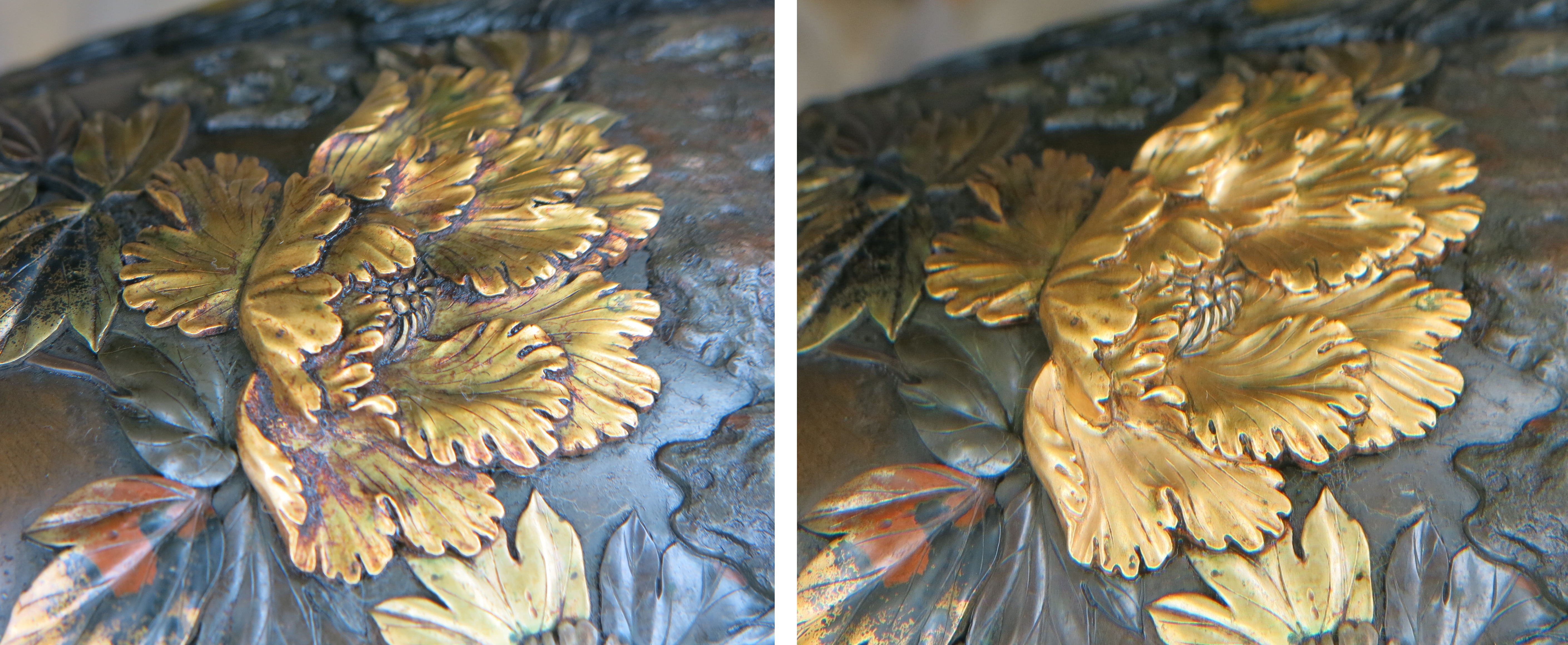 Left: Close up of a golden peony flower with a thick reddish-brown coating covering the recesses and a film over the remaining raised areas resulting in the dull appearance Right: Close up of the shiny golden peony flower.