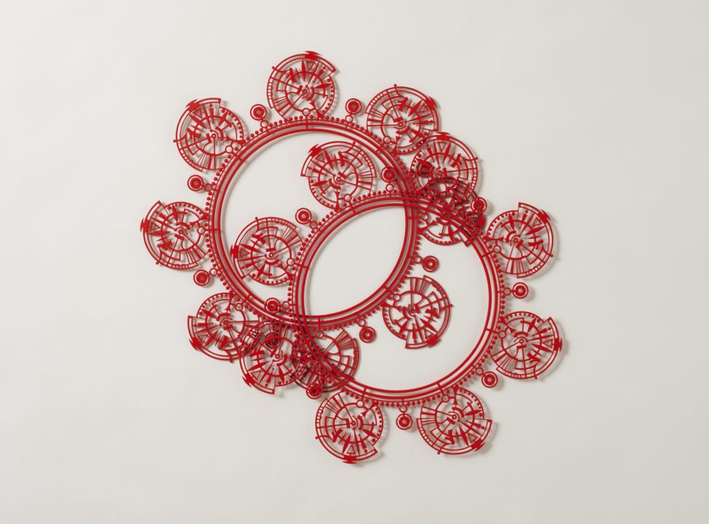 Thes two red metal collars are based on the lace collars depicted in 17th century European paintings