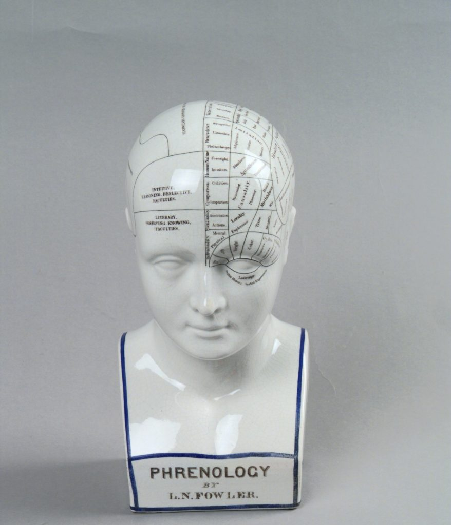 Ceramic phrenological bust, white with transfer lettering, black and blue lining. On bottom front: `Phrenology by L.N. Fowler/L.N. FOWLER/LUDGATE CIRCUS/LONDON/ENTERED AT STATIONERS HALL'. On back in black lettering: `FOR THIRTY YEARS I have studied crania and living heads from all parts of the world and have found in every instance that there is a perfect correspondence between the confirmation of the healthy skull of an individual and his known characteristics. To make my observations available I have prepared a bust of superior form and marked the divisions of the organs in accordance with my researches and varied experience. L.N. Fowler. (OF)