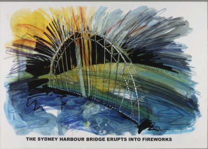 Sketch showing idea for opening of the Sydney Olympics. The Sydney habrour birdge shape with yellow firweworks against a blue green background. .