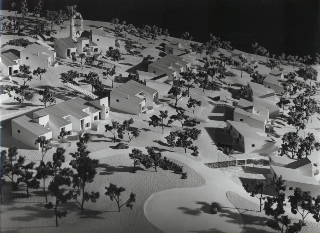 Site model of housing development with trees and roads