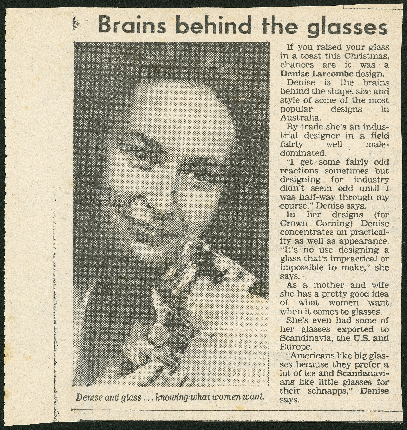 Newspaper article with a photograph of a woman and the title 'Brains behind the glass'.