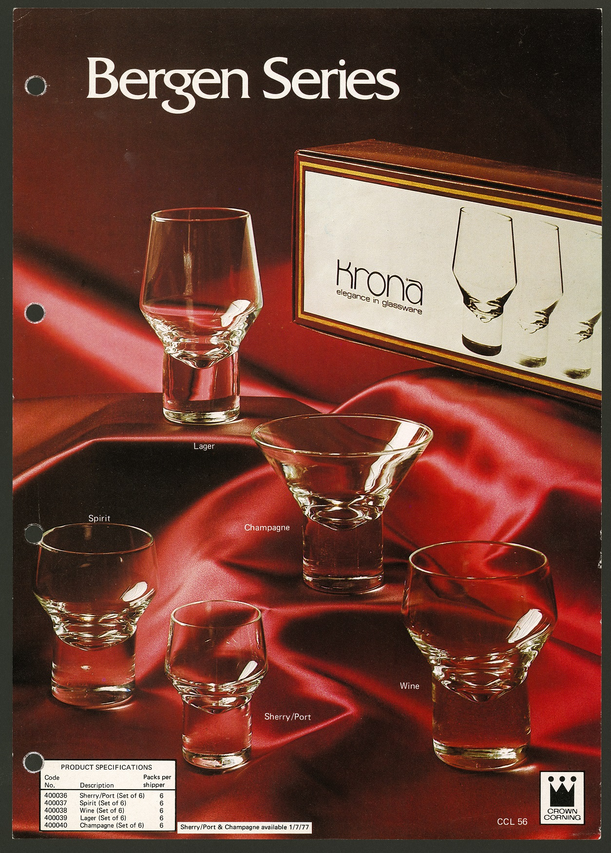 Advertising photograph for 'Bergen Series' drinking glasses. Glasses of various shapes and sizes are displayed on a red satin fabric, with packaging for the glasses in the background.