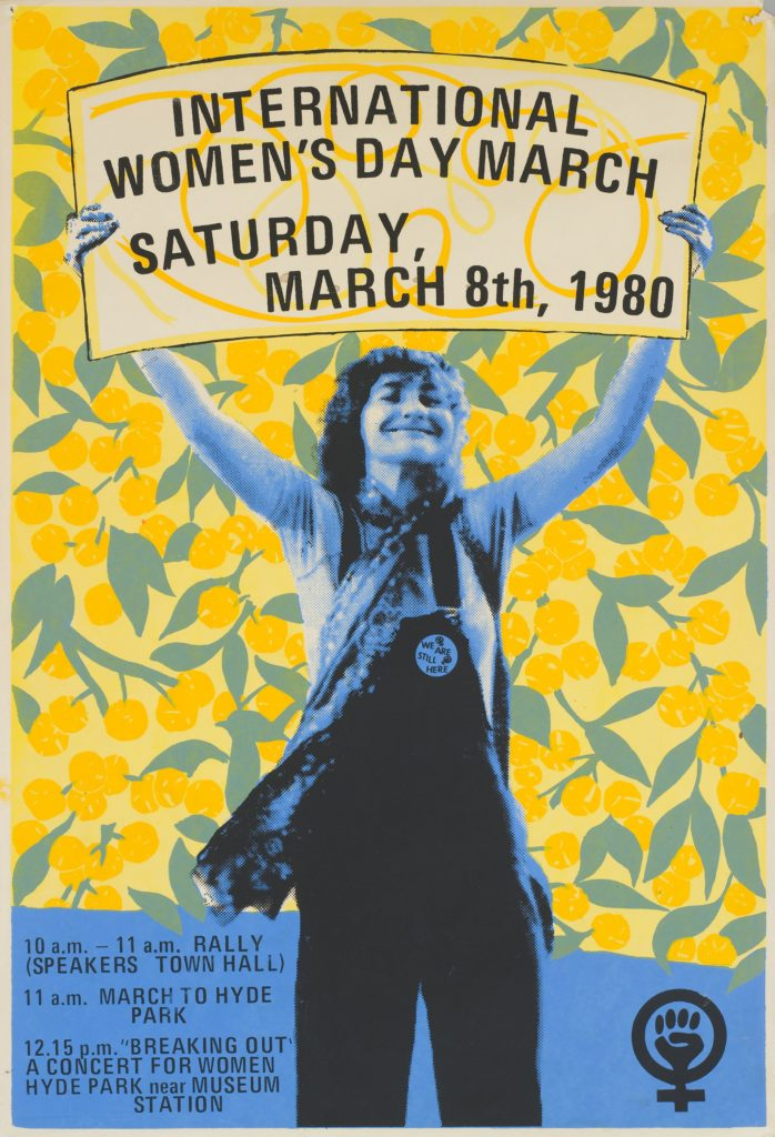 A poster from 1980 depicting a woman holding up a placard for an International Women's Day march