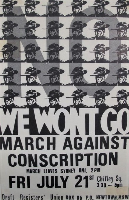 A poster from 1967 advertising a march against conscription for the Vietnam war, with a repeated image of a young soldier
