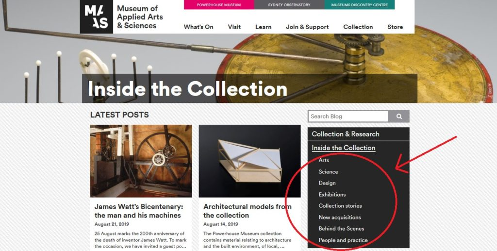 Screenshot of a blog titled Inside the Collection, with recent posts below. Down the right-hand side is a list of topics, which read: Art, Science, Design, Exhibitions, Collection stories, New acquisitions, Behind the Scenes, and People and Practice.