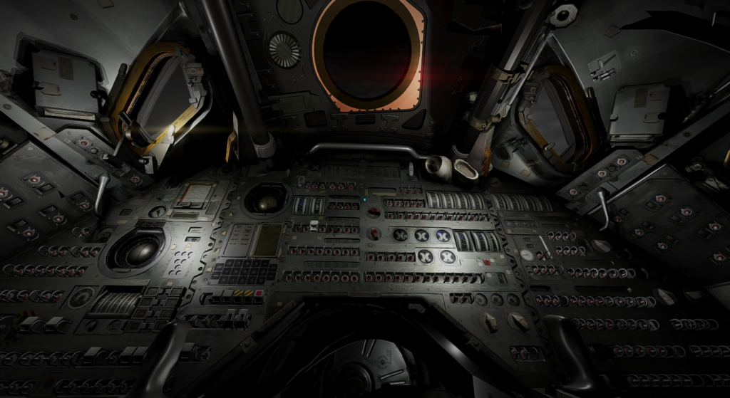 3D render of the inside of a spacecraft. A control panel with innumerable buttons and switches fills most of the image, with three small hatches and windows above it. Image: Andrew Yip, iCinema