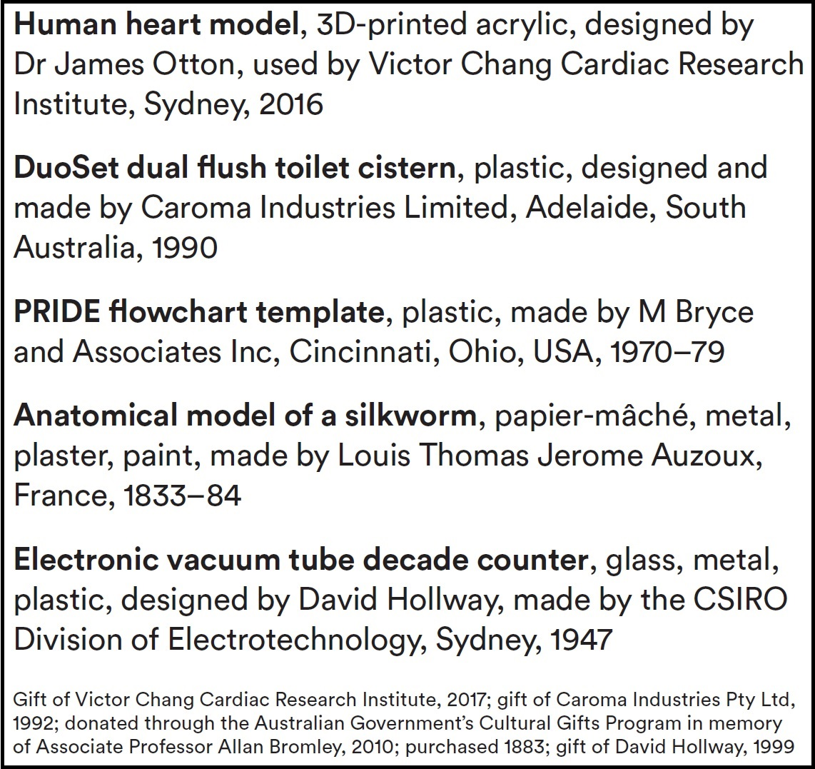 A screenshot of a sample of the object label listing report produced from the EMu collection database including the 3D printed human heart model, DuoSet dual flush toilet, PRIDE flowcharting template, anatomical model of a silkworm and electronic vacuum tube decade counter